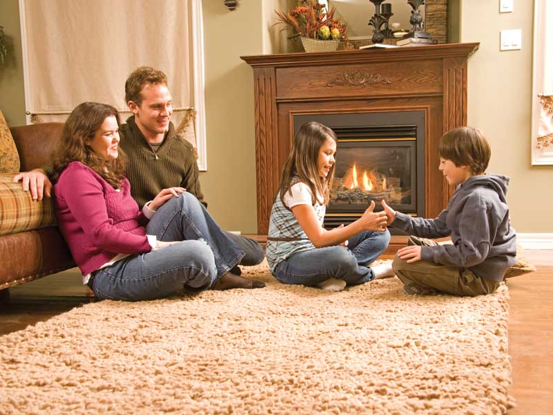 children playing on rug in living room